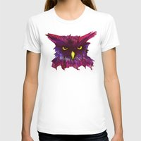 The Disapproving Owl... Womens Fitted Tee White SMALL