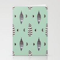 Feather Arrow Blue Stationery Cards