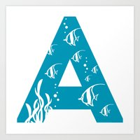 A is for Angelfish - Animal Alphabet Series Art Print
