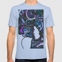 Purple Techno Mens Fitted Tee Athletic Blue SMALL