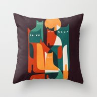 Throw Pillow featuring Cat Family by Budi Kwan