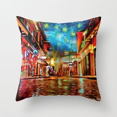 French Quarter Under the Stars Throw Pillow