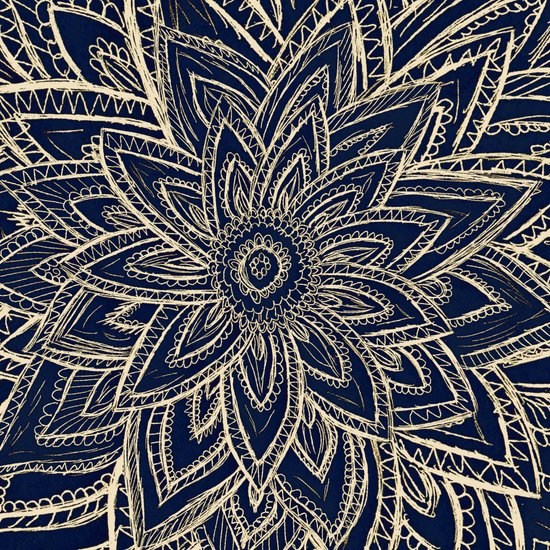 Cute Retro Gold abstract Flower Drawing on Black Art Print