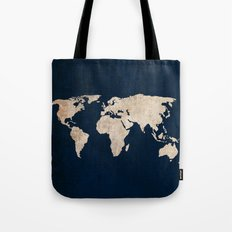 Inverted Rustic World Map Tote Bag