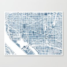 Washington DC Blueprint watercolor map Canvas Print