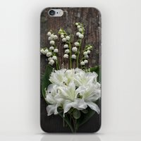 White Flowers on Rustic Table iPhone & iPod Skin