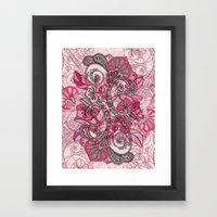 Baroque Doodle in Berry Pink and Peach Framed Art Print