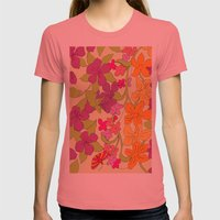Summer Floral Womens Fitted Tee Pomegranate SMALL