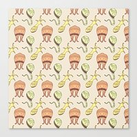 sticker monster pattern 4 Canvas Print