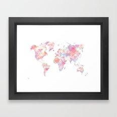 Watercolour World Map (pink) Framed Art Print