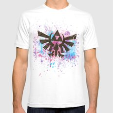 Splash Triforce Emblem Mens Fitted Tee White SMALL