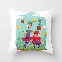 Mario and Luigi! Throw Pillow