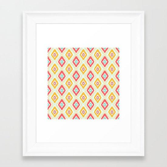 Zig Zag Ikat (white) Framed Art Print