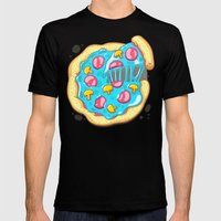 Blue Pizza Mens Fitted Tee Black SMALL