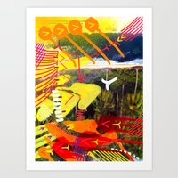 Wave yellow Art Print
