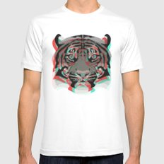 Tiger White Mens Fitted Tee SMALL