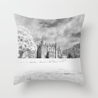 Winter at the Old Castle Throw Pillow