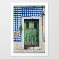 DOOR, LISBON, PORTUGAL Art Print