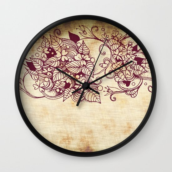 Flower hearts, Red earth on yellow Wall Clock