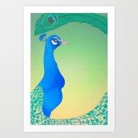Peacock;Light Art Print