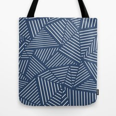 Abstraction Linear Zoom Navy Tote Bag