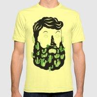 Cactus Beard Dude Mens Fitted Tee Lemon SMALL