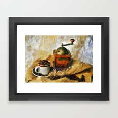 Coffee Grinder and Coffee Cup Framed Art Print