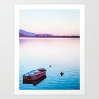 Boat At Sunset Art Print