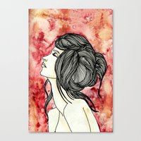 Girl in Red background Canvas Print