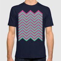 Hot Pink & Mint Mens Fitted Tee Navy SMALL
