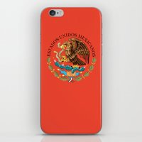 Close up of the Seal from the National flag of Mexico on Adobe red background iPhone & iPod Skin