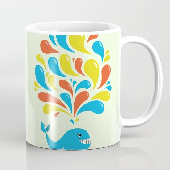 Colorful Swirls Happy Cartoon Whale Mug