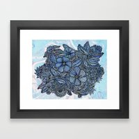Flowers On Blue.  Framed Art Print