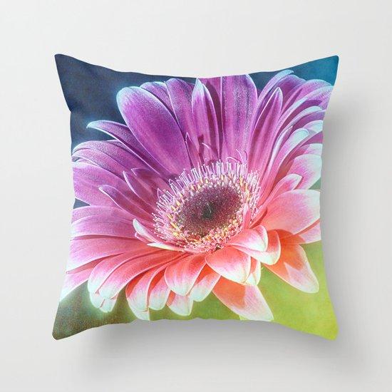 The Gerbera Rainbow Throw Pillow