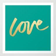 Love Gold Turquoise Type Art Print
