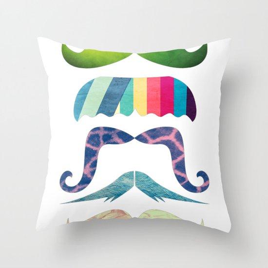 mustache BOOM Throw Pillow