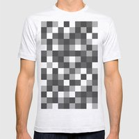 Colour Block Black and White Mens Fitted Tee Ash Grey SMALL