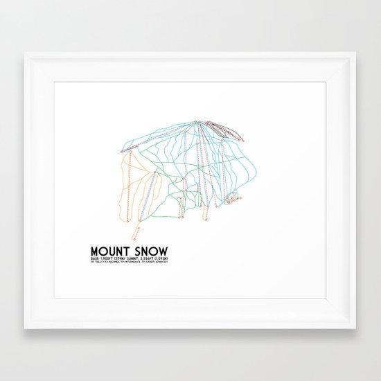 Mount Snow, VT - Minimalist Trail Art Framed Art Print