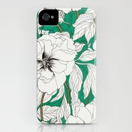 Green Peonies iPhone (4, 4s) Slim Case