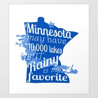 Rainy Lake Love Art Print