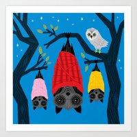 Bats In Blankets Art Print
