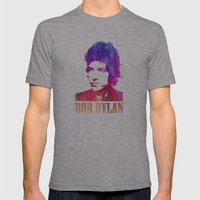 Bob Dylan Print Mens Fitted Tee Athletic Grey SMALL