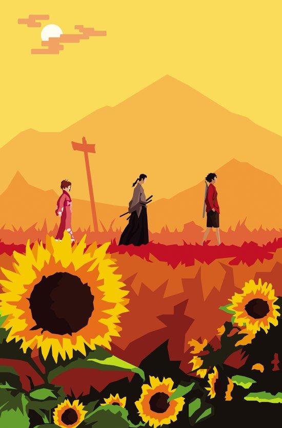 Journey to the Sunflower Samurai Art Print