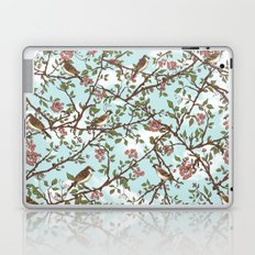 One Cloudy Day,  A Sparrow Tree -  Seamless Pattern Laptop & iPad Skin