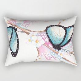 Rectangular Pillow - Watercolour Butterflies on Apple Blossom - WillowArtPrints