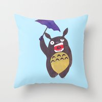 Totoro Is Tired Collage Throw Pillow