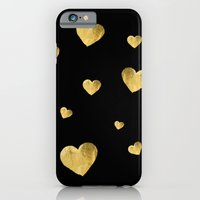 iPhone & iPod Case featuring Golden Hearts, Floating by RDelean