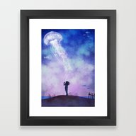 Framed Art Print featuring The Thing About Jellyfis… by Terry Fan