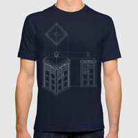 Tardis -Dark Mens Fitted Tee Navy SMALL