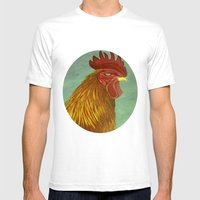 Rooster Portrait Mens Fitted Tee White SMALL